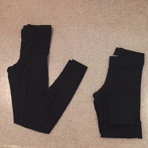 2 Pairs of Black Full-Length PINK Leggings